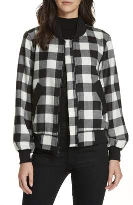 Milly Check Plaid Bomber Jacket