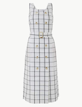 Marks and Spencer Pure Linen Checked Midi Relaxed Dress