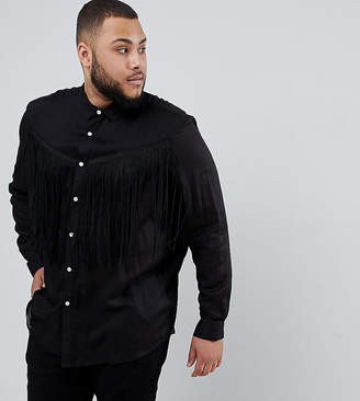 Asos DESIGN Plus regular fit western shirt with tassles in black