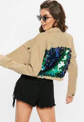 Missguided Sand Sequin Back Cropped Trucker Jacket