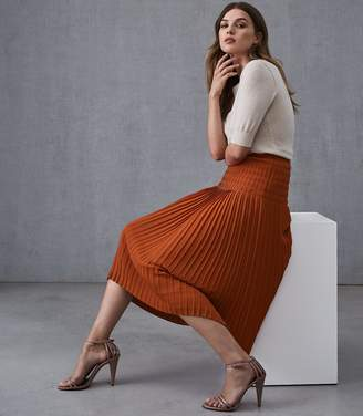 Reiss BREONA PLEATED MIDI SKIRT Burnt Orange