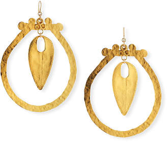 Devon Leigh Hammered Hoop Drop Earrings