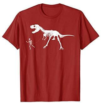 Cute Unique Walking With T-Rex Skeleton Shirt T-shirt Gift