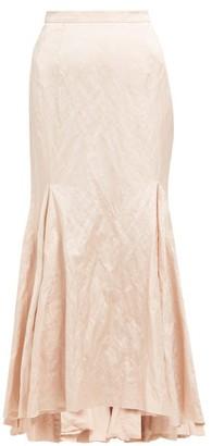 Brock Collection Godet Insert Satin Twill Maxi Skirt - Womens - Pink