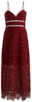 Zimmermann Jaya Wave Cotton Dress - Womens - Burgundy