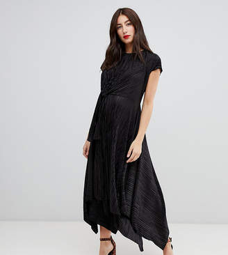 Asos DESIGN Maternity plisse midi dress with knot front