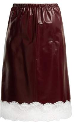 Calvin Klein Lace Trimmed Leather Midi Skirt - Womens - Burgundy