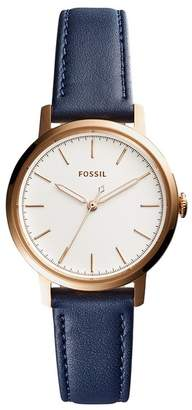 Fossil Women's Small Round Blue Leather Strap Watch, 34mm