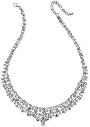 Charter Club Silver-Tone Multi-Crystal Statement Necklace