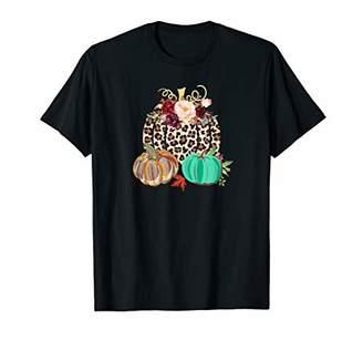 Fall Leopard Cheetah Pumpkin Rustic Halloween Thanksgiving T-Shirt