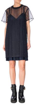 Sacai Short-Sleeve Cable Lace Dress, Navy