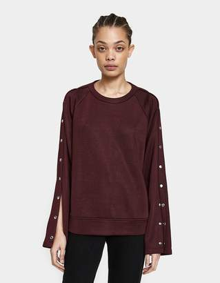 Alexander Wang Sleek French Terry Crewneck Sweatshirt in Burgundy