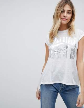 Brave Soul Sunset Beach T-Shirt With Foil Print
