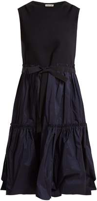 Moncler Abito gathered cotton-blend dress