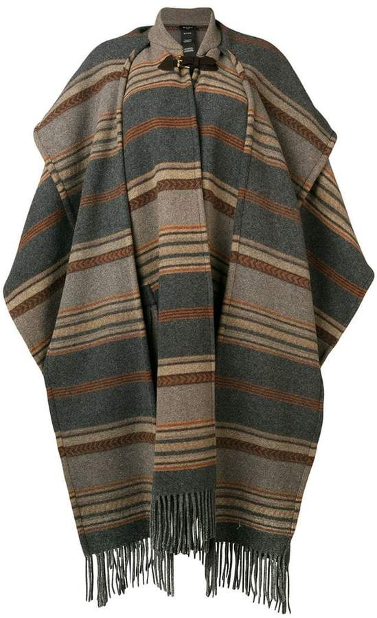 striped oversized cape coat