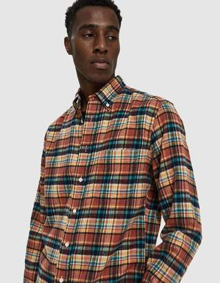 Gitman Brothers Burnt Orange Plaid Flannel Shirt in Orange Multi