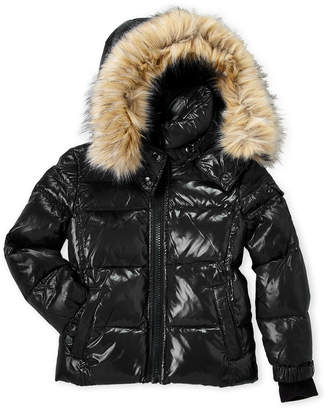 S13 Boys 8-20) Downhill Faux Fur Trim Coat