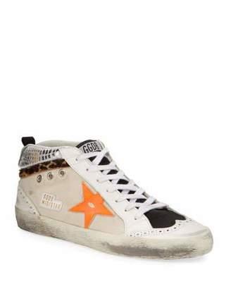 Golden Goose Mid-Star Leopard Sneakers