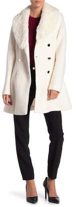 GUESS Faux Fur Trim Wool Blend Coat