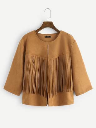 Shein Plus Fringe Patched Open Front Suede Coat