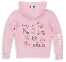 Butter Shoes Little Girl's& Girl's Snow Wash Zip Fleece Hoodie
