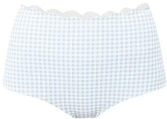 Marysia Swim Palm Springs Gingham High Rise Bikini Briefs - Womens - Light Blue