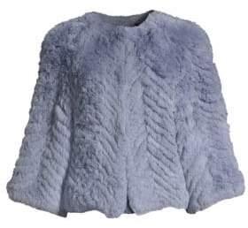Jagger H Brand H Brand Women's Chevron Rabbit Fur Jacket - Sky Blue - Size Small/Medium