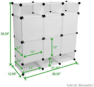URBAN RESEARCH MINDREADER Mind Reader Storage Rack Bookcase Shelves Bins with 12 Storage Cubes, 6 Large Cubes with Doors, 6 Small Open Cubes, White