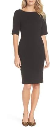 Eliza J Bateau Neck Crepe Sheath Dress