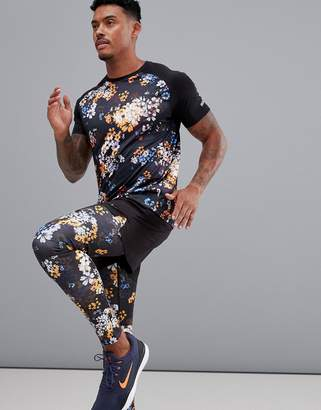 Asos 4505 4505 running tights in floral print with quick dry