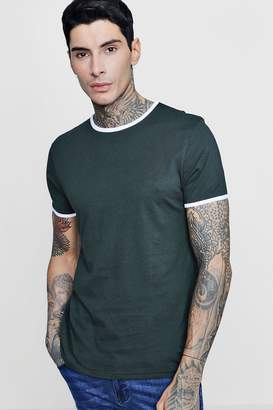 boohoo Ringer T-Shirt With Curve Hem