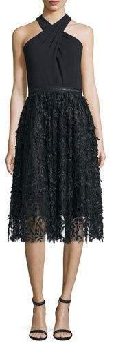 Carmen Marc ValvoCarmen Marc Valvo Halter Fit & Flare Lace Combo Dress