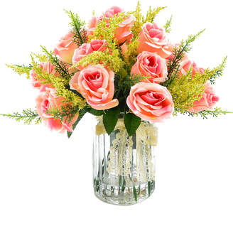 Creative Displays Light Pink Rose Bunch With Heather In A Glass Mason Jar
