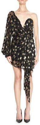 Saint Laurent One-Shoulder Metallic-Dot Bustier Minidress