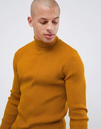 Asos Design DESIGN muscle fit ribbed roll neck sweater in mustard