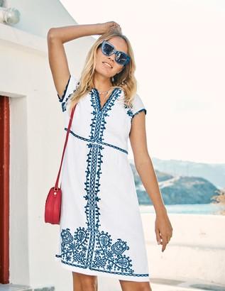 Boden Bea Linen Embroidered Dress