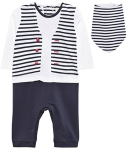Emile et Rose Navy and White Stripe Footless Outfit Babygrow