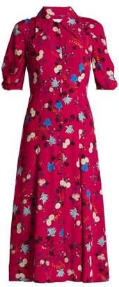 Erdem Gisella Floral Print Midi Dress - Womens - Pink Print