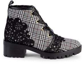 Karl Lagerfeld Paris Parker Embroidered Plaid Booties