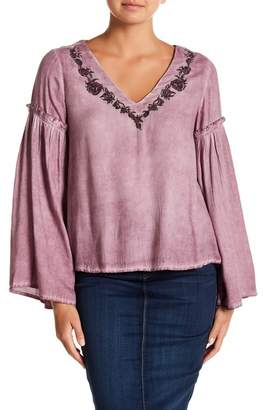 Naked Zebra Tie Dye V-Neck Embroidered Blouse