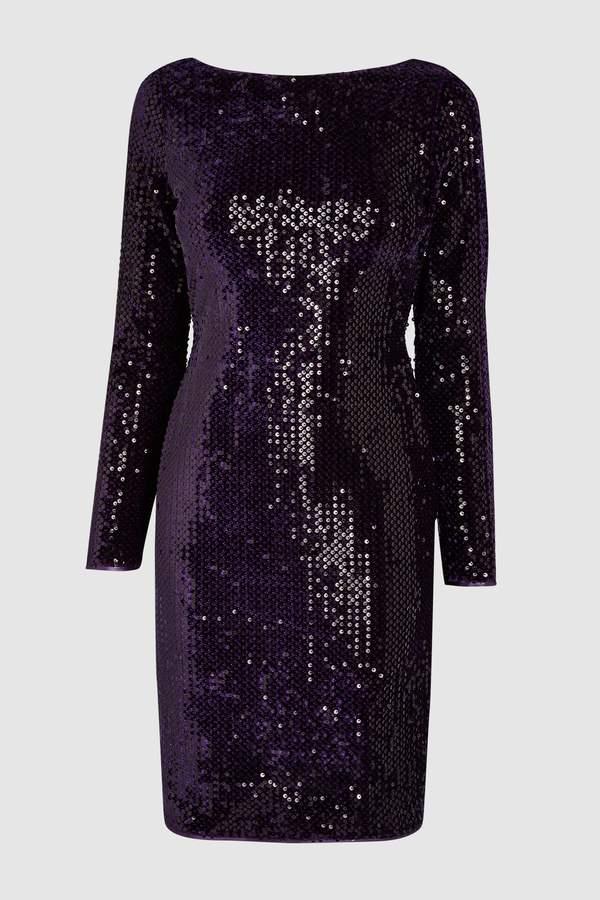 Womens Next Purple Velour Sequin Bodycon Dress e5ee81f1f08
