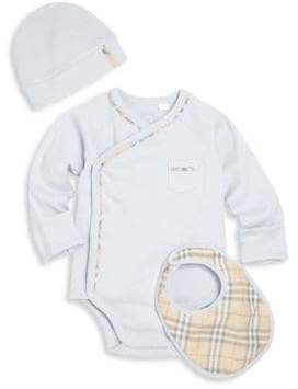 Burberry Baby's Three-piece Bodysuit, Hat and Bib Set