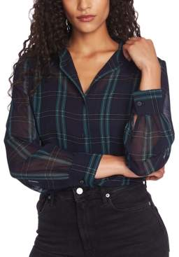 1 STATE 1.State 1.state Plaid-Print Blouse