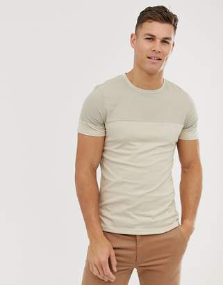 Jack and Jones t-shirt with woven panel detail in stone