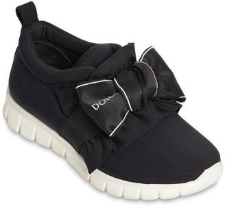 Dolce & Gabbana Neoprene Slip-On Sneakers W/ Logo Bow