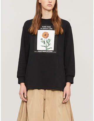Izzue Floral box-print cotton-blend sweatshirt