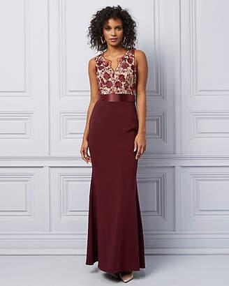 Le Château 3D Floral Velvet V-Neck Gown