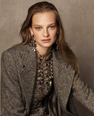 Ralph Lauren Bernette Donegal Tweed Coat
