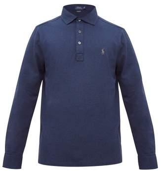 Polo Ralph Lauren Logo Embroidered Cotton Blend Pique Polo Shirt - Mens - Blue