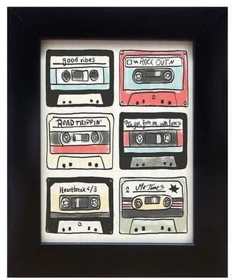 "PTM Images Cassette Collage Framed Giclee Print - 8\""x10\"""